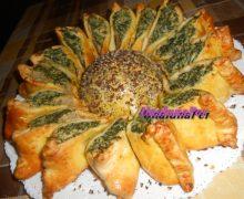 Girasole di pasta Brisée con ricotta e spinaci