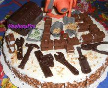 Torta muratore  in pdz,cioccolato fondente e kinder cioccolato-dolci al cucchiaio